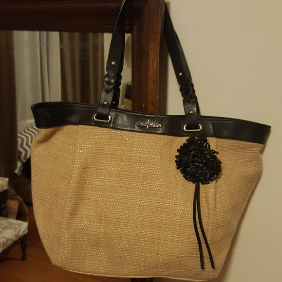 d0cd69294c1 Cole Haan Handbags - Cole Haan leather and straw bag